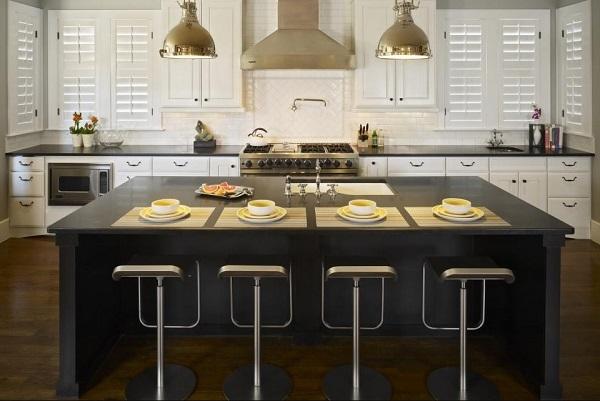 Stylish white and black kitchen design