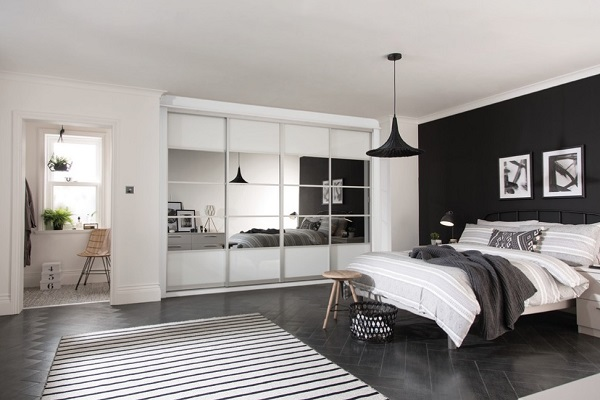 Beautiful mirror wardrobes for black-white bedroom