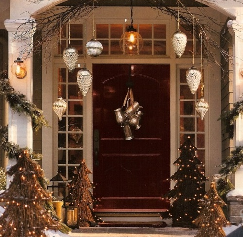 Beautiful Christmas Door Decorated With Trees