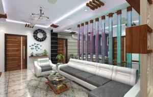 Beautiful living room designed for 3-bhk flat in Kolkata