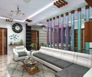 Beautiful living room designed for 3-bhk flat in Kolkata