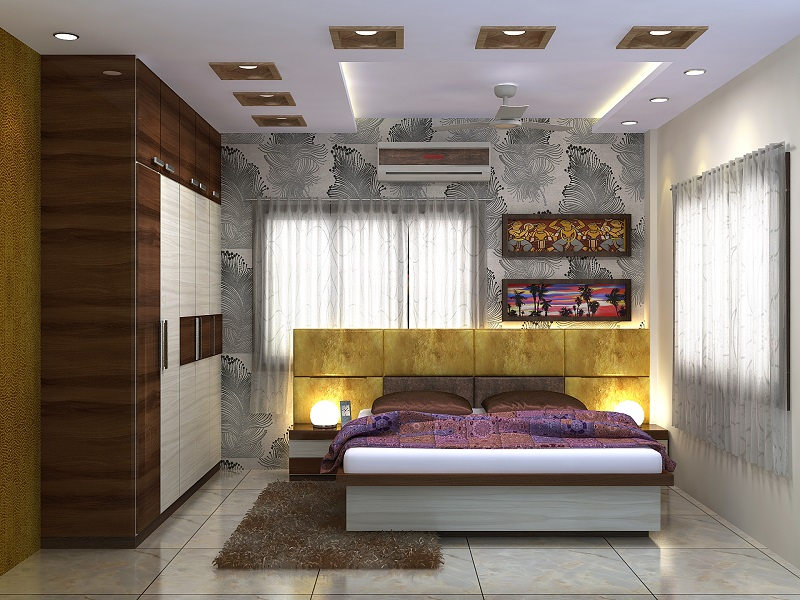 Bedroom design for 3-BHK flat in Vedic village, Kolkata