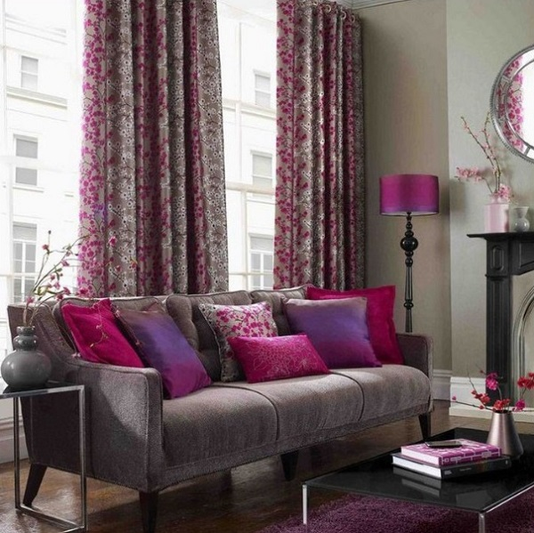 Contemporary pink living room design photo by homedecorbuzz