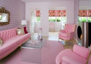 Light pink color living room design photo by homedecorbuzz