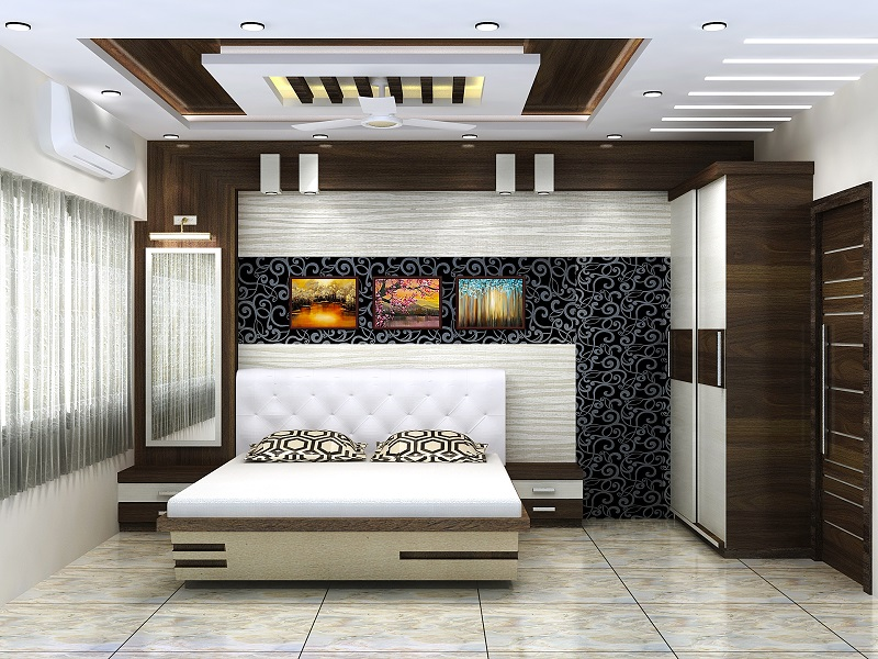 Master bedroom design for 3-BHK apartment in Vedic, Kolkata