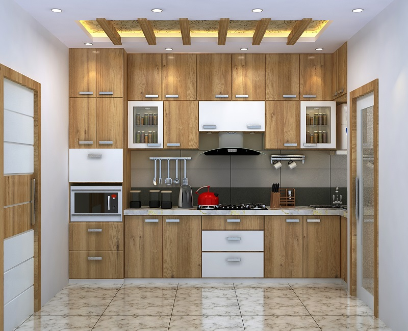 Modular kitchen interior design, decoration Kolkata 3-BHK flat