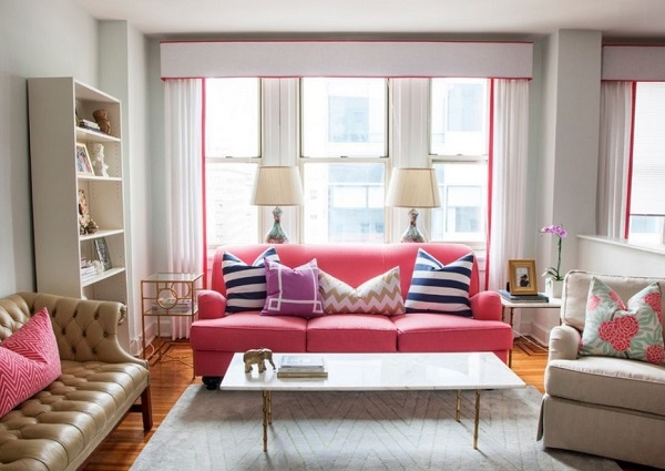 Pink sofa for living room decoration