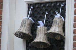 Special Christmas bells made of rattan used for home door decoration