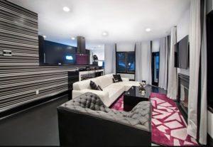 Amazing black living room interior design photo