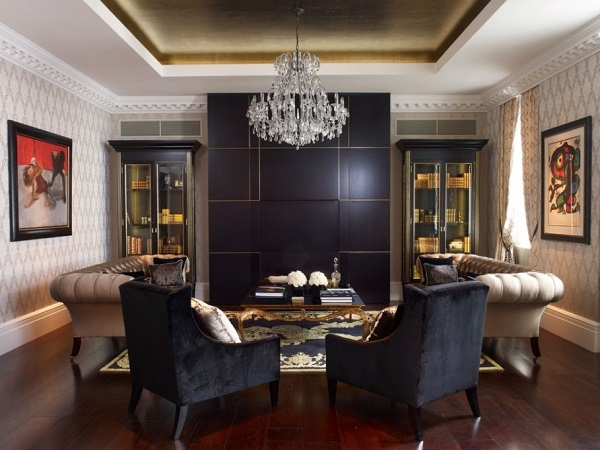 Black gold living room design