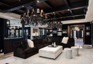 Black living room interior design pictures