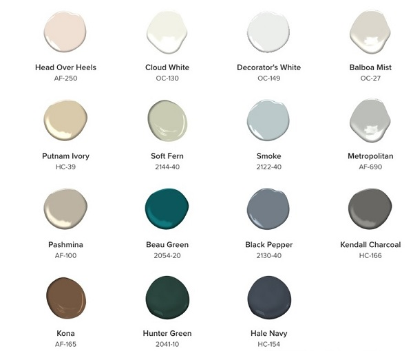 Color Trends 2019 palette from Benjamin Moore
