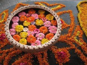 Floating flowers decoration for deepawali festival