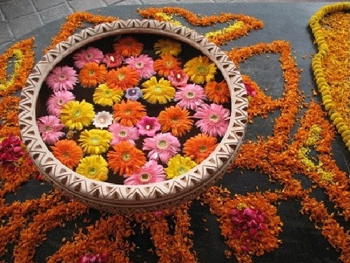 Floating flowers decoration for deepawali festival