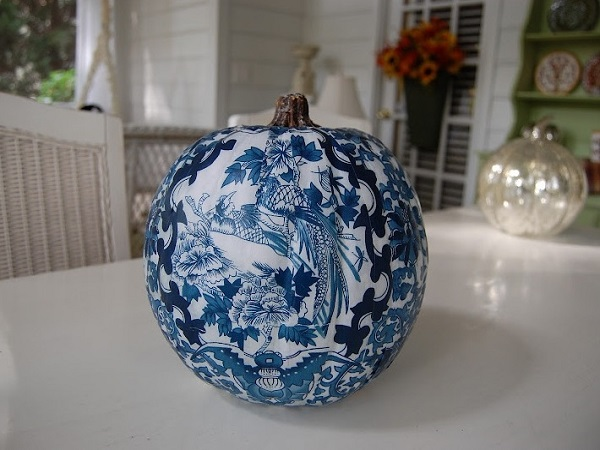 Forest theme Chinoiserie pumpkin design by homedecorbuzz