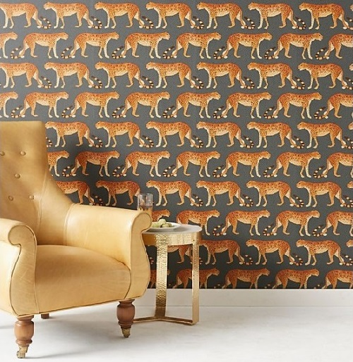 Leopards design wallpaper on living room wall