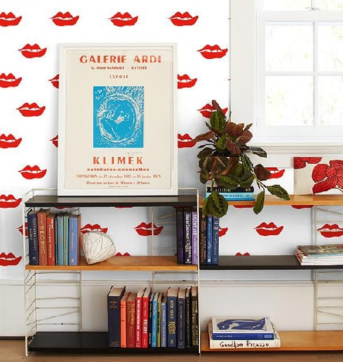 Lips wallpaper design photo by home decor buzz