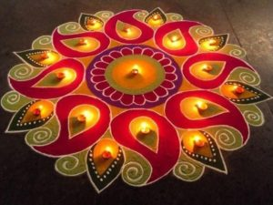 Lovely Rangoli to decorate floor on diwali