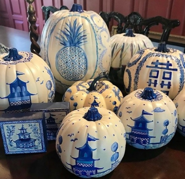 Pumpkins in chinoiserie print and art work