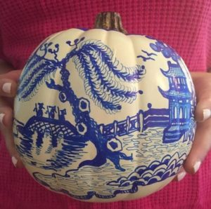 Scary pumpkin design in chinoiserie art for halloween