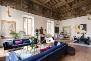 Living room interior design of luxury Costaguti Experience apartment in Rome