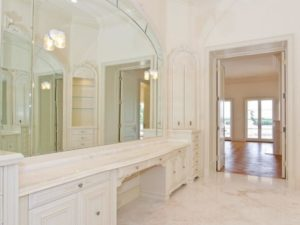Cream marble installed on floor