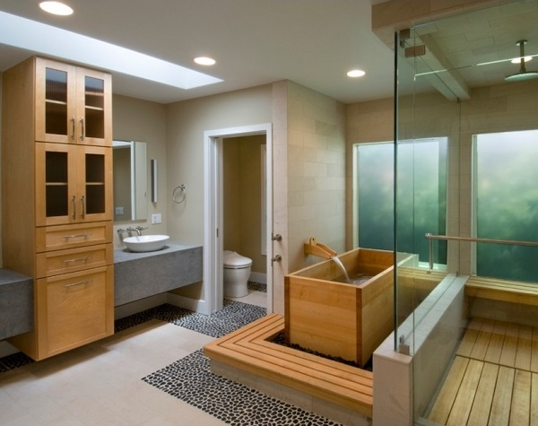 Japanese soaking tub installed in bathroom at California