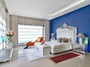 Blue wall for home bedroom interior design
