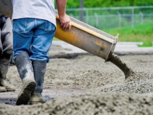 Concrete contractor working