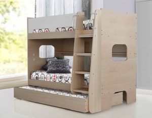 Trio Single Bunk Bed with Shelves